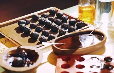 Homemade organic vegetarian chocolates on a table