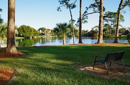 Public park with pond.