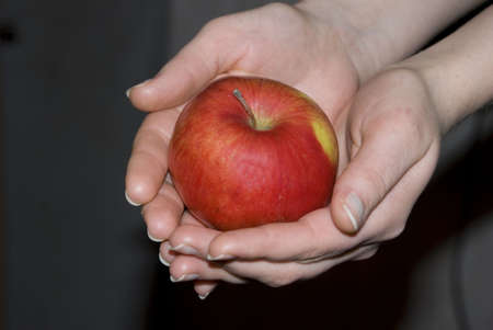 Red apple in gentile palm of the girl