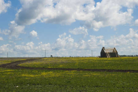 Building brick house in solitary green field photo