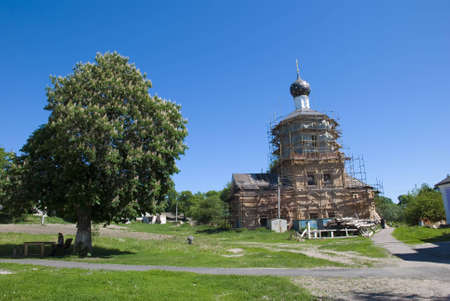 Reconstruction Ryliskogo Nikoliskogo male priory at clear solar day Stock Photo