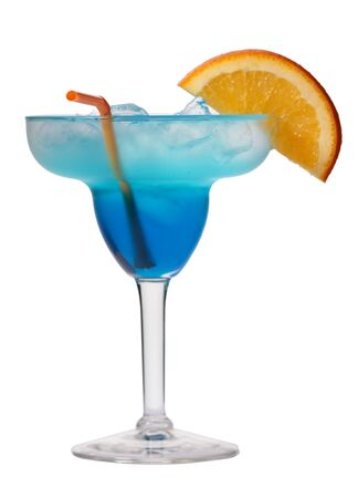 margarita glass: Blue lagoon cocktail isolated on white background in margarita glass