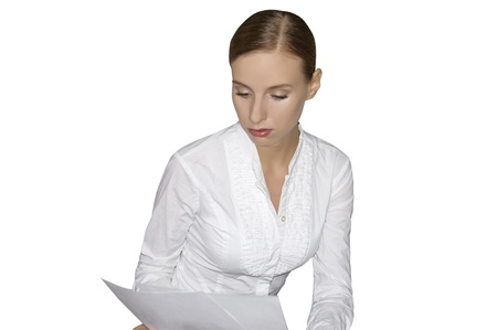 examined: Businesswoman reading a document Stock Photo