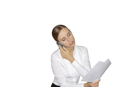 Woman working with documents and calling phone photo