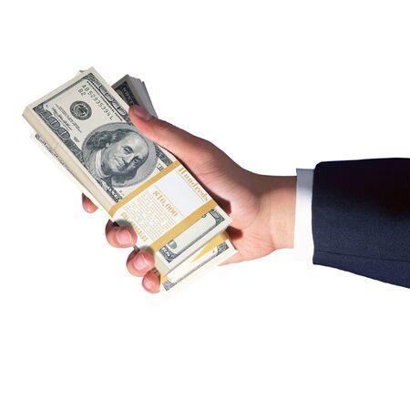 remuneraciones: la mano de negocios celebración de dólares de dinero aislados en fondo blanco