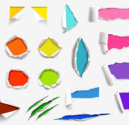many ripped paper with many different background color photo