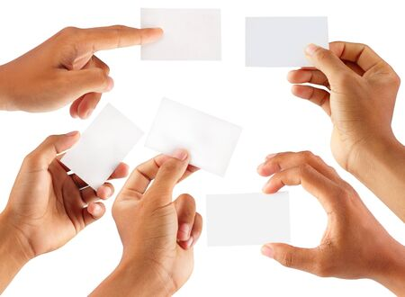 visiting card design: Set of hand holding an empty business card over white Stock Photo