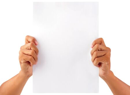 hand holding paper: Male hands with clean sheet of paper isolated