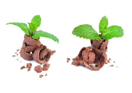 endorphines: chocolate with mint leaf isolated on white background
