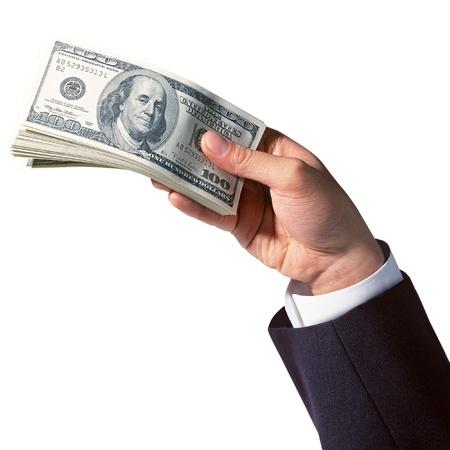 remuneraci�n: la mano de negocios celebraci�n de d�lares de dinero aislados en fondo blanco