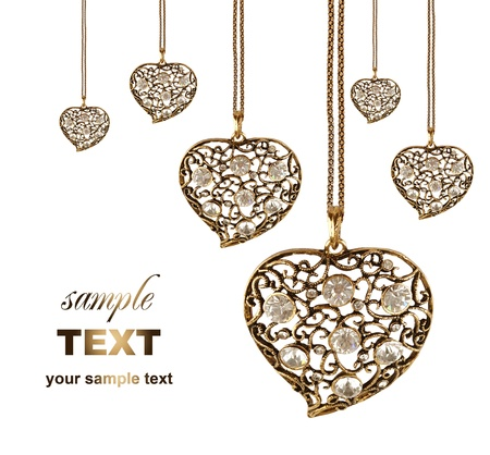 hang up: jewelry of love hearts design  With copy space isolated on white background Stock Photo