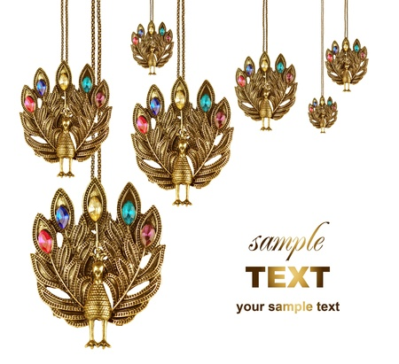 peacock jewelries. With copy space & isolated on white background photo