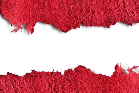 deckled: a red old paper textured isolated on white background Stock Photo