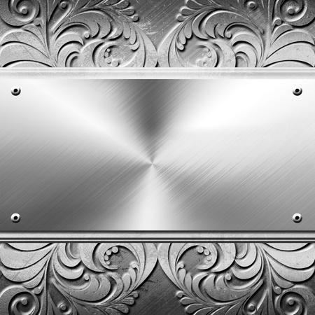 Серебряная металлическая пластина с копией пространства