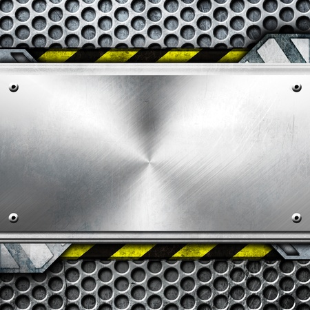 durable: metal template  With copy space   warning stripes