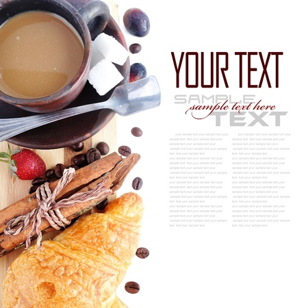 sample text: Coffee Break Menu ( With bread, fruit, sample text )