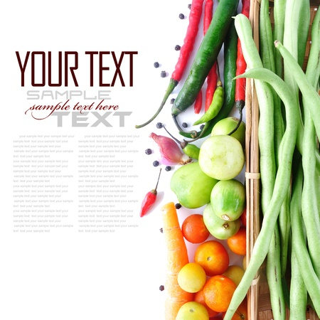 Tomatos, long bean, onion, & red chili  on white background (with sample text) Stock Photo - 13906747