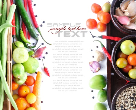 long bean: Tomatos, long bean, onion, red chili  on white background (with sample text)