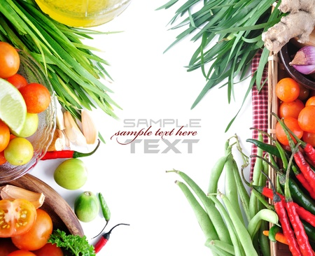 Tomatos, chives, garlic, red chili, ginger and onion on white background  with sample text Stock Photo - 13906826
