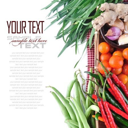 long bean: Tomatos, chives, garlic, red chili, ginger and long bean on white background  with sample text