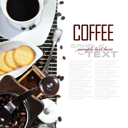 sample text: Coffee Break Menu ( With coffee ingredient, coffee grinder sample text ) Stock Photo