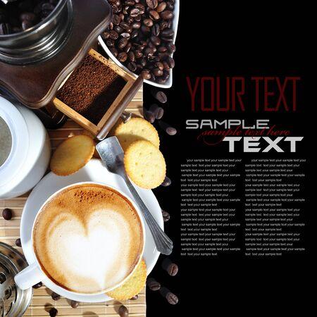 młynek do kawy: Menu Przerwa na kawę (Z składnika, kawy młynek do kawy przykładowy tekst) Zdjęcie Seryjne