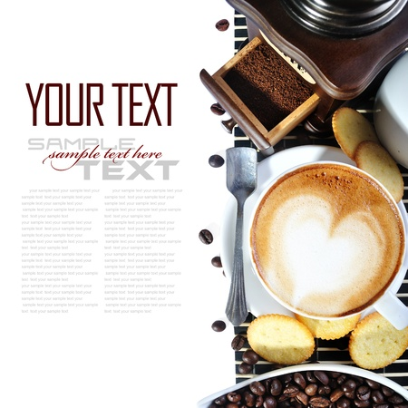 java: Coffee Break Menu ( With coffee ingredient, coffee grinder sample text ) Stock Photo