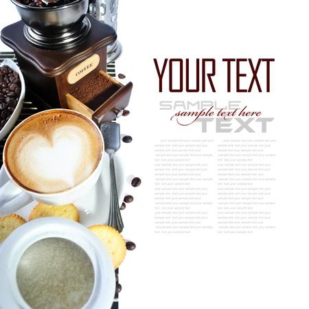 coffee spoon: Coffee Break Menu   With coffee ingredient, coffee grinder   sample text   Stock Photo