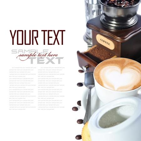 grinder: Coffee Break Menu   With coffee ingredient, coffee grinder   sample text   Stock Photo