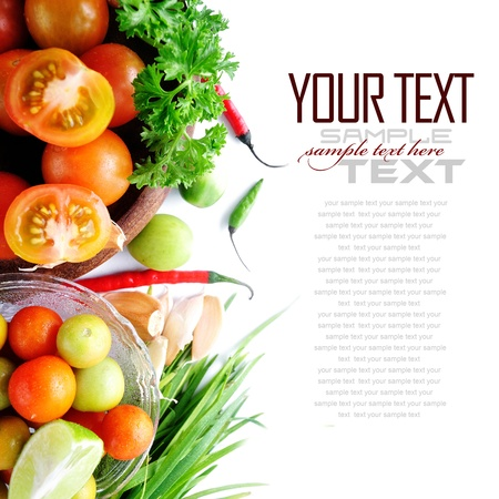 Tomatos, chives, garlic, red chili, lime and parsley on white background  with sample text  photo