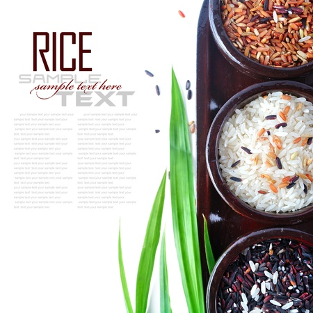 vegetarian cuisine: Bowls of uncooked rice over white with sample text