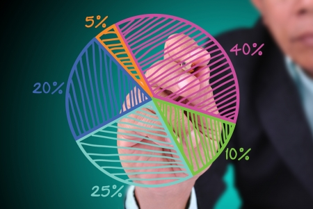 nominal: business man drawing pie chart Stock Photo