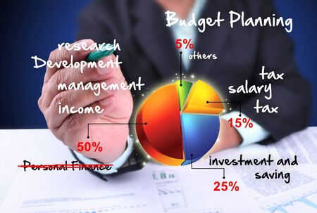 personal finance: businessman drawing budget planning Stock Photo