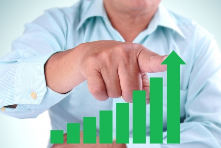 businessman designate upward trend bar chart Stock Photo - 16588885