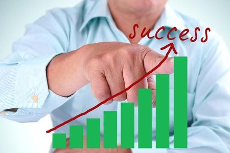 designate: businessman designate upward trend bar chart