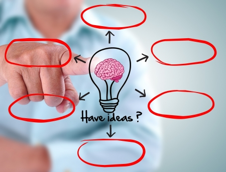 businessman designed lamp of brainstorming. With six red list Stock Photo - 16588856