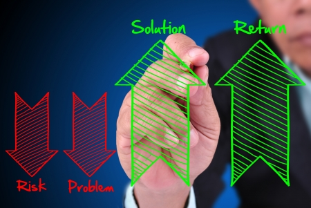 collate: business man writing concept of increased solution and return. And fall down of risk and problem with arrow sign
