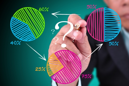 business man drawing pie chart. With increase pie chart concept
