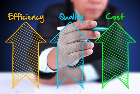 cost of education: business man writing industrial product and service improvement concept of increased quality - efficiency and reduced cost Stock Photo