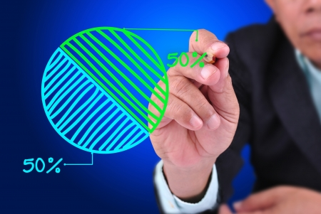 business man drawing 50 - 50 percent pie chart. With green - blue pie chart Stock Photo - 16588915