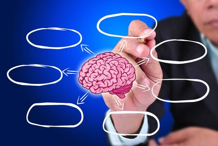 businessman designed brain of idea. With blank list photo