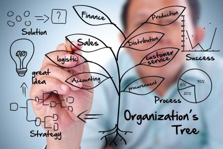 деловой человек письменно дерева организации в деловом мире