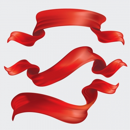 curved ribbon: Red ribbon set isolated on grey background  Illustration
