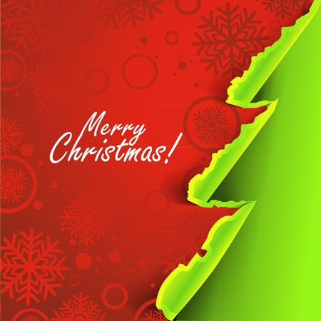 Creative Christmas tree formed from curled corner paper  Vector