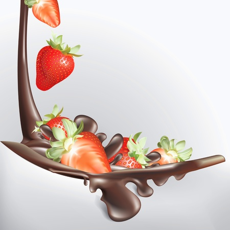 strawberries and chocolate melting fall down Vector
