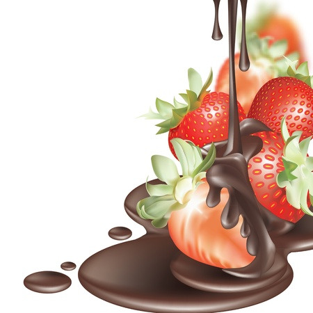 strawberries and chocolate melting on a white background Stock Vector - 16827544
