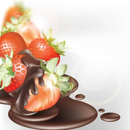 sweet sauce: strawberries and chocolate on a white background Illustration