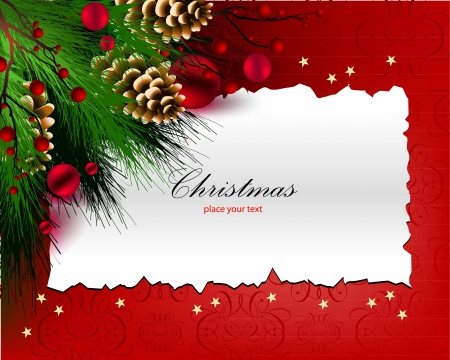 Christmas frame for greeting card  red  Vector