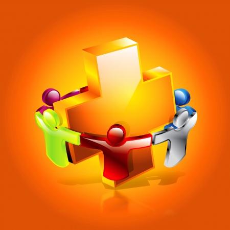 3D Gesundheitswesen Symbol menschlichen together for health concept
