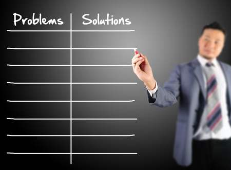 correlate: Business man writing problems and solutions  Stock Photo